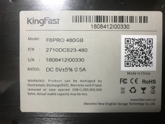 KingFastのSSD(480GB)